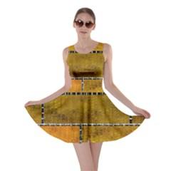 Classic Color Bricks Gradient Wall Skater Dress