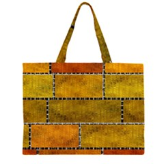 Classic Color Bricks Gradient Wall Zipper Large Tote Bag