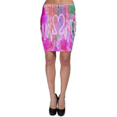 Watercolour Heartbeat Monitor Bodycon Skirt