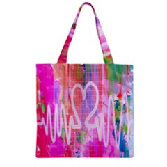 Watercolour Heartbeat Monitor Zipper Grocery Tote Bag