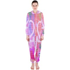 Watercolour Heartbeat Monitor Hooded Jumpsuit (Ladies)