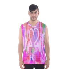 Watercolour Heartbeat Monitor Men s Basketball Tank Top