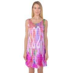 Watercolour Heartbeat Monitor Sleeveless Satin Nightdress