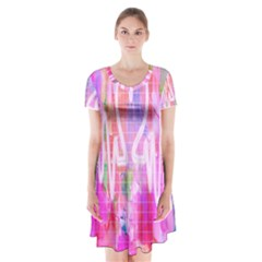 Watercolour Heartbeat Monitor Short Sleeve V-neck Flare Dress