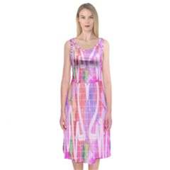 Watercolour Heartbeat Monitor Midi Sleeveless Dress