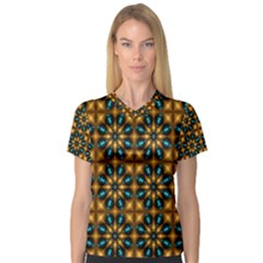 Abstract Daisies Women s V Neck Sport Mesh Tee
