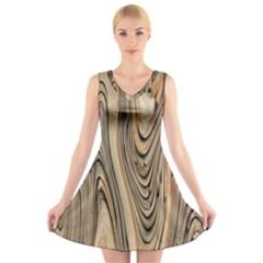 Abstract Background Design V Neck Sleeveless Skater Dress
