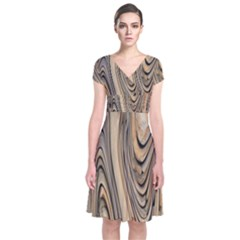 Abstract Background Design Short Sleeve Front Wrap Dress