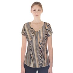 Abstract Background Design Short Sleeve Front Detail Top