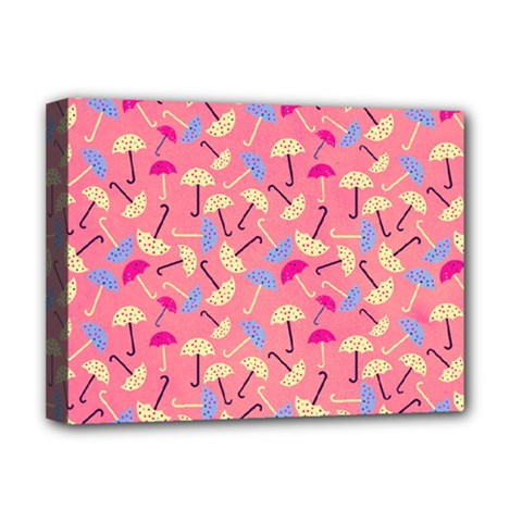 Umbrella Seamless Pattern Pink Deluxe Canvas 16  x 12