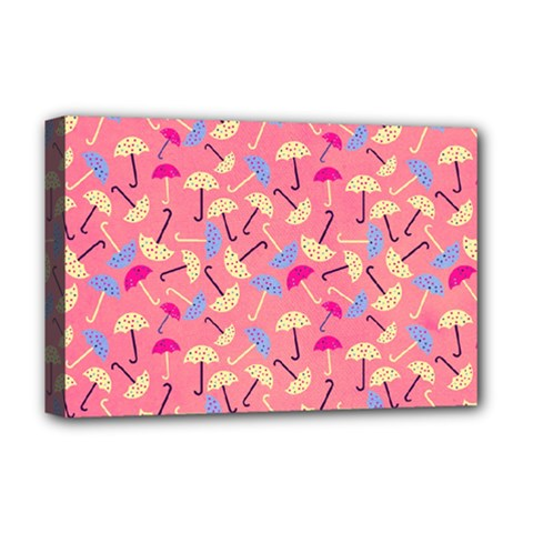 Umbrella Seamless Pattern Pink Deluxe Canvas 18  X 12