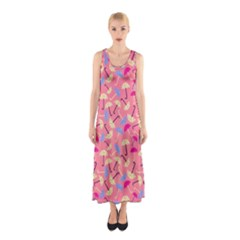 Umbrella Seamless Pattern Pink Sleeveless Maxi Dress