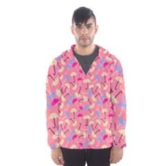 Umbrella Seamless Pattern Pink Hooded Wind Breaker (men)