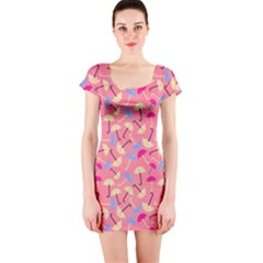 Umbrella Seamless Pattern Pink Short Sleeve Bodycon Dress