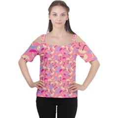 Umbrella Seamless Pattern Pink Women s Cutout Shoulder Tee