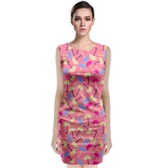 Umbrella Seamless Pattern Pink Classic Sleeveless Midi Dress