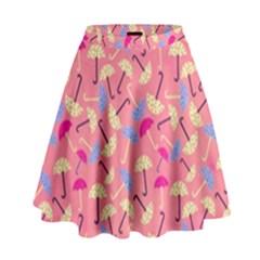 Umbrella Seamless Pattern Pink High Waist Skirt