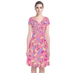 Umbrella Seamless Pattern Pink Short Sleeve Front Wrap Dress