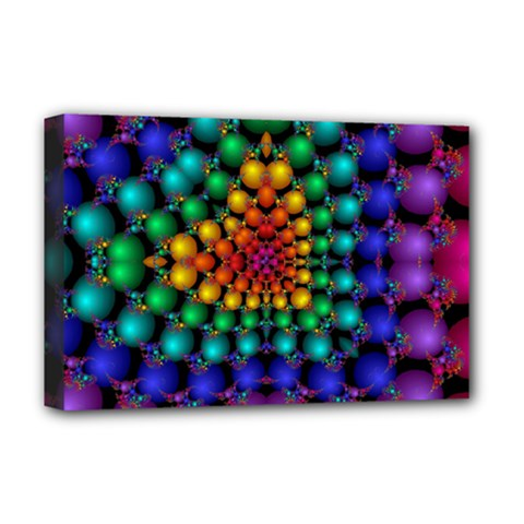 Mirror Fractal Balls On Black Background Deluxe Canvas 18  x 12