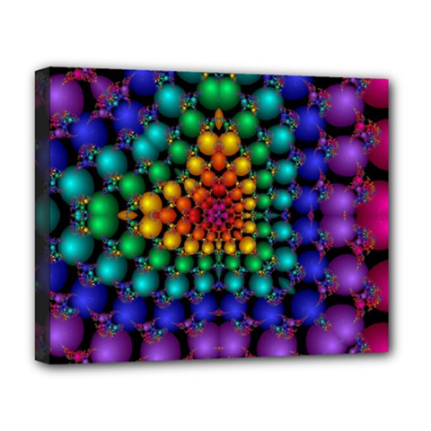 Mirror Fractal Balls On Black Background Deluxe Canvas 20  x 16