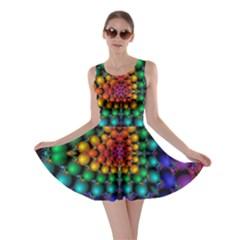 Mirror Fractal Balls On Black Background Skater Dress