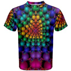 Mirror Fractal Balls On Black Background Men s Cotton Tee