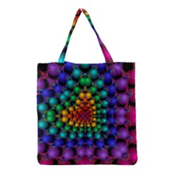 Mirror Fractal Balls On Black Background Grocery Tote Bag