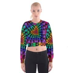 Mirror Fractal Balls On Black Background Women s Cropped Sweatshirt