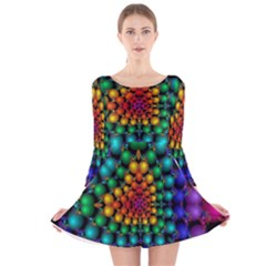 Mirror Fractal Balls On Black Background Long Sleeve Velvet Skater Dress
