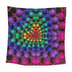 Mirror Fractal Balls On Black Background Square Tapestry (large)