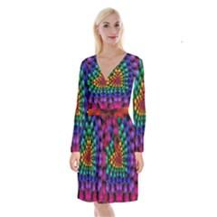 Mirror Fractal Balls On Black Background Long Sleeve Velvet Front Wrap Dress