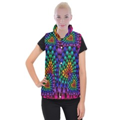 Mirror Fractal Balls On Black Background Women s Button Up Puffer Vest