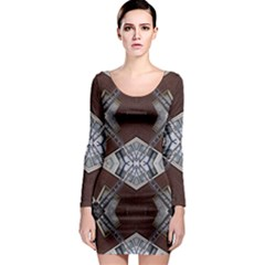 Ladder Against Wall Abstract Alternative Version Long Sleeve Bodycon Dress