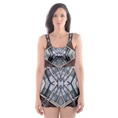 Ladder Against Wall Abstract Alternative Version Skater Dress Swimsuit
