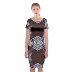 Ladder Against Wall Abstract Alternative Version Classic Short Sleeve Midi Dress