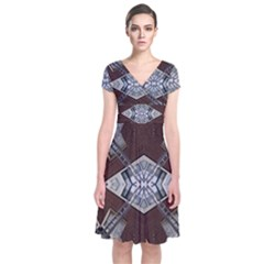 Ladder Against Wall Abstract Alternative Version Short Sleeve Front Wrap Dress