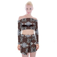 Ladder Against Wall Abstract Alternative Version Off Shoulder Top With Skirt Set