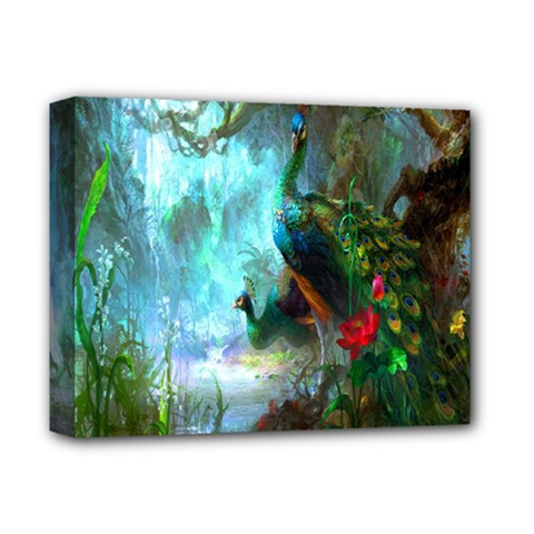 Beautiful Peacock Colorful Deluxe Canvas 14  X 11