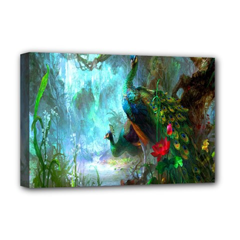 Beautiful Peacock Colorful Deluxe Canvas 18  X 12