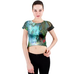 Beautiful Peacock Colorful Crew Neck Crop Top