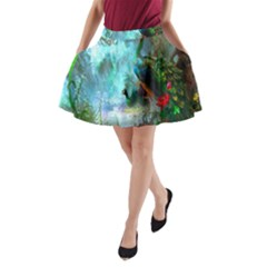 Beautiful Peacock Colorful A-Line Pocket Skirt