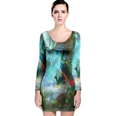 Beautiful Peacock Colorful Long Sleeve Velvet Bodycon Dress