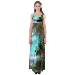 Beautiful Peacock Colorful Empire Waist Maxi Dress