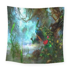 Beautiful Peacock Colorful Square Tapestry (large)