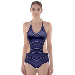 Blue Metal Abstract Alternative Version Cut Out One Piece Swimsuit