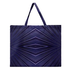 Blue Metal Abstract Alternative Version Zipper Large Tote Bag