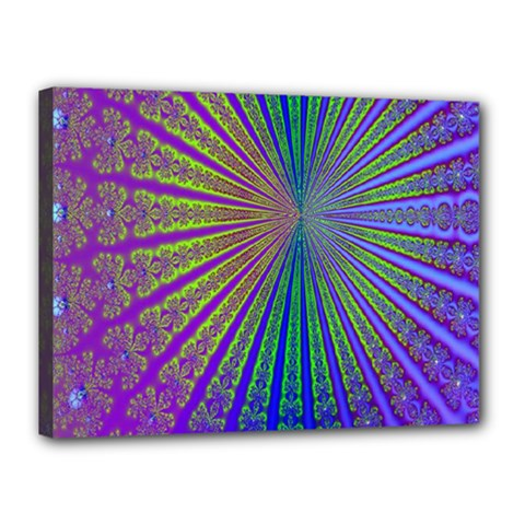 Blue Fractal That Looks Like A Starburst Canvas 16  X 12