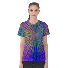 Blue Fractal That Looks Like A Starburst Women s Cotton Tee