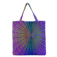Blue Fractal That Looks Like A Starburst Grocery Tote Bag