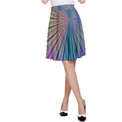 Blue Fractal That Looks Like A Starburst A-Line Skirt